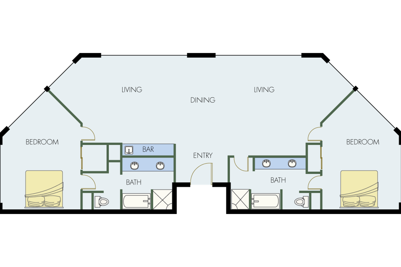 100 Mgm Signature 2 Bedroom Suite Floor Plan 3